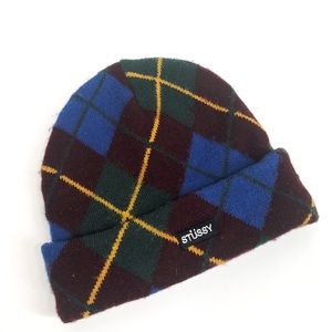 STUSSY Red Argyle Beanie Hat